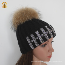 Winter Black Strip Style en tricot en laine Partern CC Beanie Hat