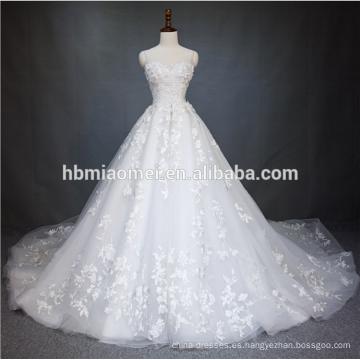 2018 China Guangzhou Vestido de novia de lujo Vestido de novia de alta calidad de color blanco Puffy princesa vestido de novia