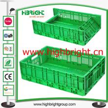 Caixa de armazenamento de plástico dobrável e empilhável