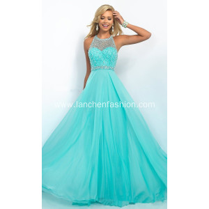 China Aqua Illusion Beaded Prom Dress Manufacturers