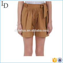 Stretch-Cotton Belted women shorts wholesale casual boy style shorts
