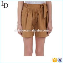 Algodão com cinto Stretch mulheres shorts calções casual estilo menino por atacado