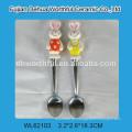 Cutely conejo de cerámica en forma de cuchara de acero inoxidable con mango de cerámica