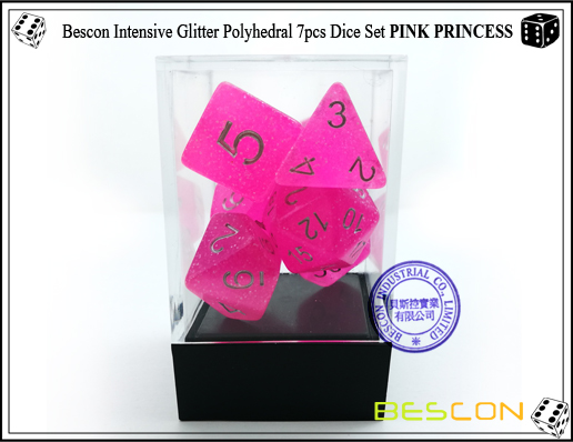 Bescon Intensive Glitter Polyhedral 7pcs Dice Set PINK PRINCESS-4