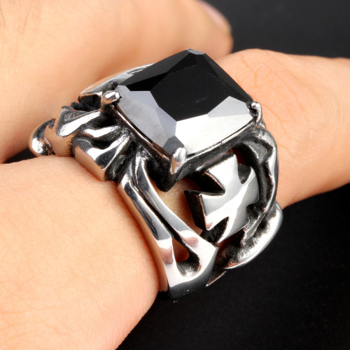 black gem ring