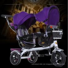 Gute verkaufende Kinder Zwilling Dreirad mit zwei Sitzen