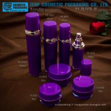 Élégante fabuleuse haute qualité belle ronde tambour forme acrylique produits cosmétiques de luxe bocal et bouteille en plastique d'emballage