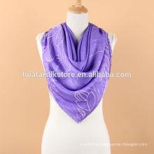 Mão Rolada Duas Camadas Impresso Silk Floral Shawl