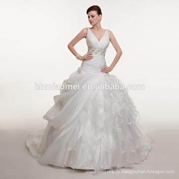 Neuer Entwurf dünner Linie tiefer V-Ansatz sehen Sie durch geschnürtes sexy buntes moslemisches Hochzeitskleid durch