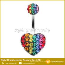 Coração de aço cirúrgico do arco-íris 316L multi - polvilhe o anel da barriga do ponto