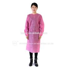 Einweg-PP-Kleider / SMS gedruckt Chirurgische Kleid / Isolationskleid Patient Kleid mit elastischen und stricken Manschette ISO-Standard