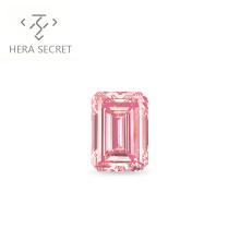 ForeverFlame  fancy pink 2ct 7mm*9mm vvs Emerald Cut diamond CVD CZ Moissanite