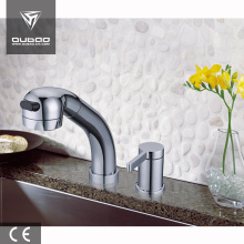 Two holes water tap pull out kitchen faucet