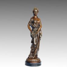 Weibliche Kunst Figur Bronze Skulptur Traube Lady Messing Statue TPE-547