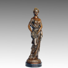 Femme Art Figure Bronze Sculpture Raisin Dame En Laiton Statue TPE-547