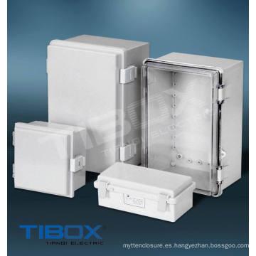 Caja de plástico - cierre de plástico + tipo de bisagra