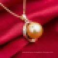 Collar colgante de perlas naturales de oro rosa de las mujeres con cadena