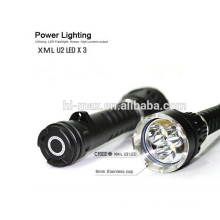 Powerful rotating switch on/off xm-l u2 3 led diving flashlight.
