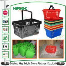 Único punho plástico supermercado cesta de compra