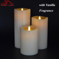 360 Degree Moving Flame Ivory Flameless Pillar Candle