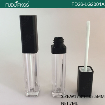 7ML Matte Black Cap Plastic Lip Gloss Container Square