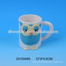 Fabrik Großhandel maßgeschneiderte Keramik Eule Becher mit Griff