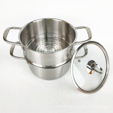 double layer stack stainless steel cooking food steamer pot with glass lid