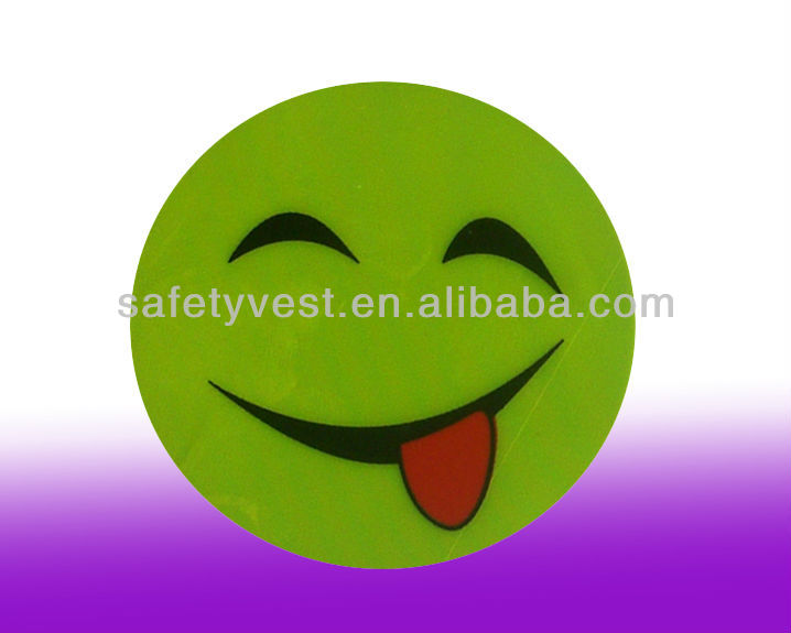 Adhesive Yellow Reflective Smiley Face Safety Stickers