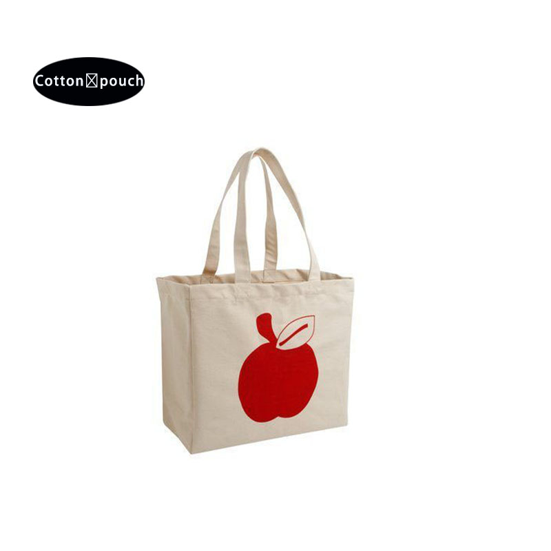 Offwhite cotton bag with handle and logo