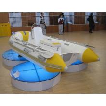 Barco inflável de 4,2 m amarelo e branco com costelas de venda quente