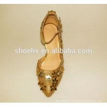 дамы сияющие золотые вечерние туфли для женщин