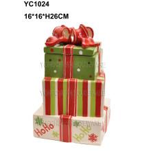 Caja de regalo grande de la torta de cerámica pintada a mano