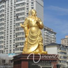 Decoração do jardim ao ar livre metal ofício kwan kong estátuas jardim tamanho