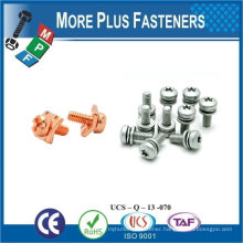 Taiwan Stainless Steel 18-8 Copper Brass Aluminum Brass SEMS Screw Washer ISO 4162 DIN 6902A