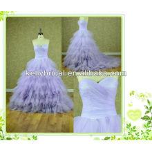 2014 neue Stil lila / violetten Tüll Brautkleid mit Sweathreat Ausschnitt