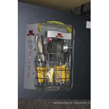 24PCS Edelstahl-Besteck-Set mit Kunststoff-Griff