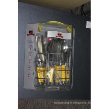 Ensemble de coutellerie en acier inoxydable 24PCS avec poignée en plastique