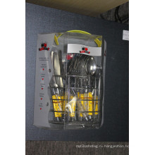 Комплект столовых приборов из нержавеющей стали 24PCS с пластиковой ручкой