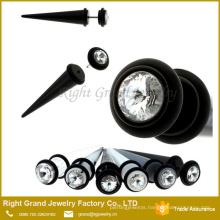 Black White Acrylic Clear Stone Fake Ear Taper Stretcher plug