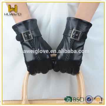 Luvas de couro de alta qualidade de moda preto senhoras