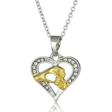Atacado Chain Colar Pingente Coração Colar Amarelo Ouro jóias Diamante