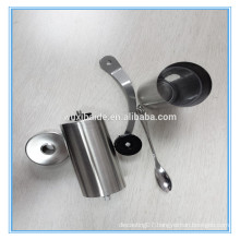 Factory price stainless steel manual coffee grinder with spoon as gift