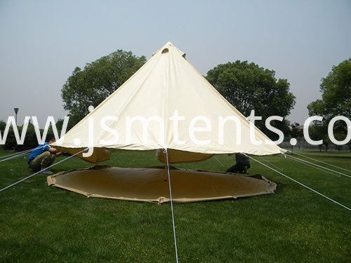Zipped groundsheet bell tents