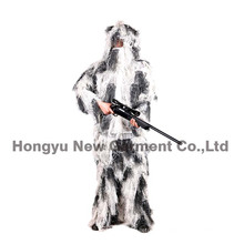 Snow Camouflage Pattern Fatigues Ghillie Suit for Hunting (HY-C004)