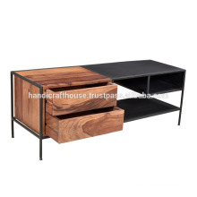 Industrial Wide Metal and wooden storage Coffee table