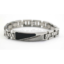 Stainless steel mens chain link black enamel bracelets with crystal