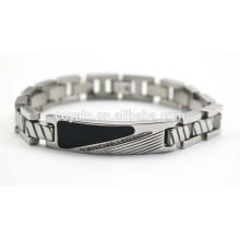 Aço inoxidável mens cadeia pulseiras de esmalte preto com cristal