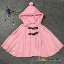 Hochwertige Baumwolle mit Kapuze Pullover Cardigan Cashmere Poncho