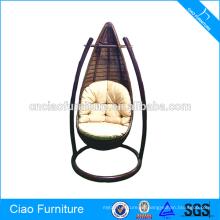 Muebles de jardín al aire libre silla de oscilación de ratán