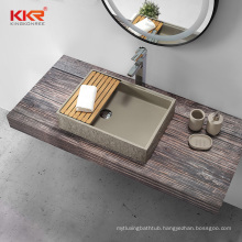 Square countertop stone resin acrylic solid surface wash sink